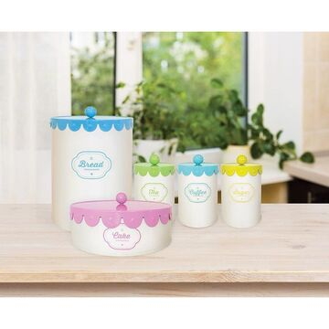 Retro Pastel Kitchen Canisters/Tins 5 Piece Set