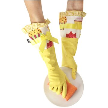 Lulu Housewife Yellow Cupcakes Rubber Gloves (42.5cm)