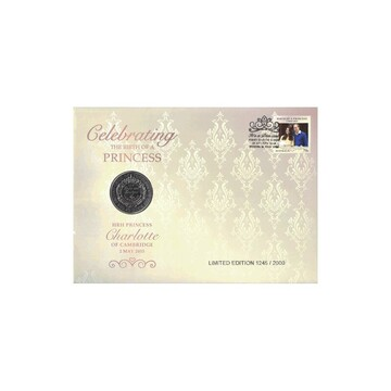 2015 GB L5 HRH Princess Charlotte Prestige Coin & Stamp Cover PNC