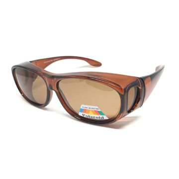 Unisex Polarized Sunglasses Fit Over Crystal Brown
