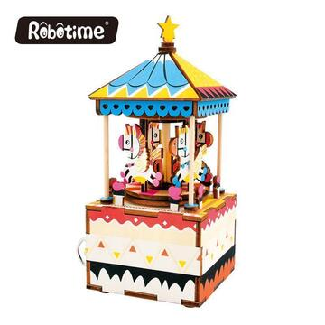 Merry-Go-Round 3D DIY Wooden Puzzle Music Box