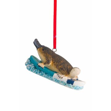 Australiana Surfing Platypus Christmas Hanging Decoration 8cm (Set of 2)