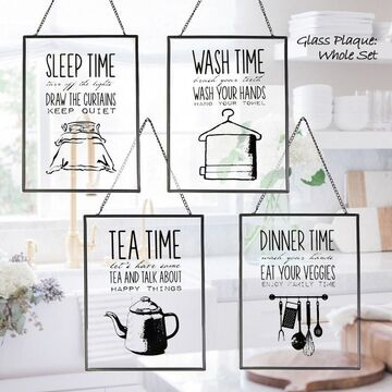 Tea/Dinner/Wash/Sleep Time Wall Hanging Glass Plaque 18x24cm