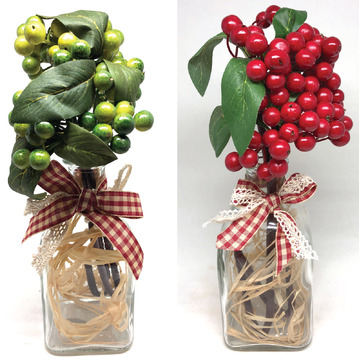 Artificial Fruit Berries in Clear Glass Bottle with Ribbon