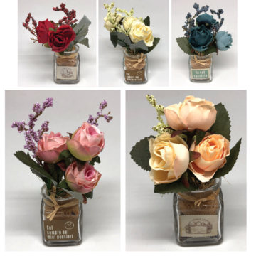 Artificial Scented Roses in Mini Glass Bottle 12cm
