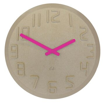 IS Time Pulp Wall Clock - Natural and Fluoro Pink