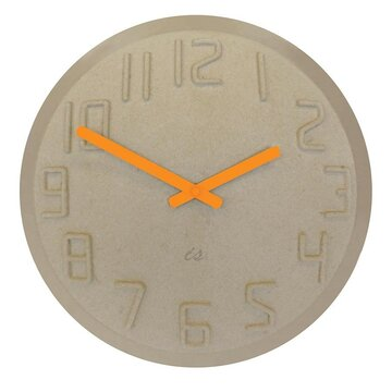 IS Time Pulp Wall Clock - Natural and Fluoro Orange