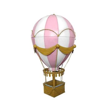 Diecast Metal Medium Pink Hot Air Balloon Decoration