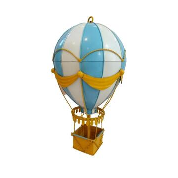 Diecast Metal Medium Blue Hot Air Balloon Decoration