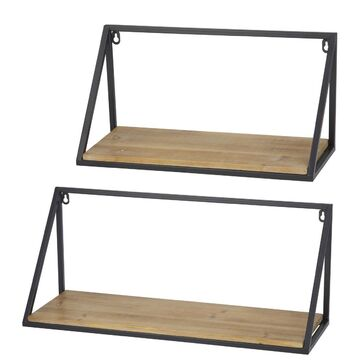 Academy Hemingway Wood and Metal Shelves Set of 2
