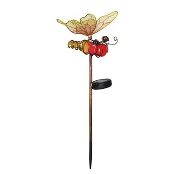 Regal Garden Decor Mini Solar Orange Butterfly Stake